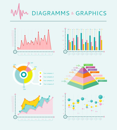 schemes: Infographic set of graph, charts and diagrams. Flat infographic collection schemes in trend color. Can be used for web banners, marketing and promotional materials, presentation templates