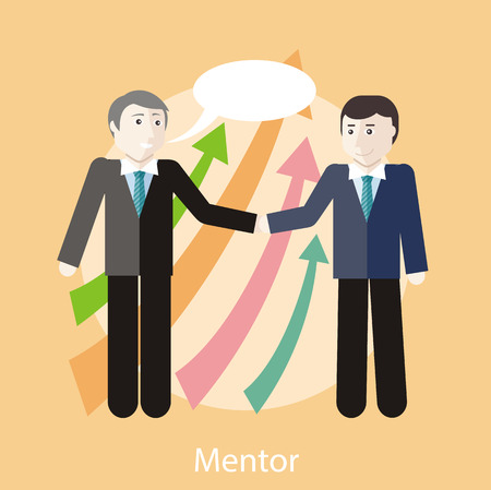 adviser: Financial adviser or business mentor help team partner up to profit growth. Concept in flat design style. Can be used for web banners, marketing and promotional materials, presentation templates Illustration