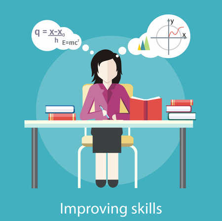 Improving skills. Concept in flat design style. Can be used for web banners, marketing and promotional materials, presentation templates Illustration