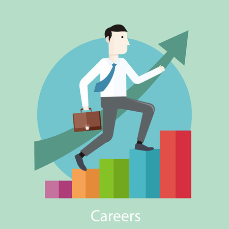climbing stairs: Businessman going up. Business man with case rises to top step of stairs. Career concept in flat design style. cartoon man climbing the staircase to success and progress Illustration