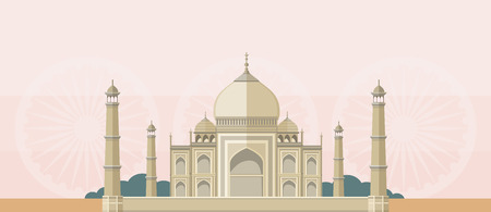 A flat picture of cultural, religious and tourist buildings in India. Taj Mahal. Can be used for web banners, marketing and promotional materials, presentation templates Vector