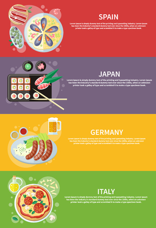 spanish food: Oktoberfest germany food. Paella traditional Spanish meal with rice and seafood. Spain food concept. Italian food. Pizza with its ingredients. Japanese sushi traditional japanese food. Concept in flat design