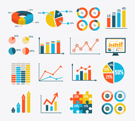 Big set infographic of graph, charts and diagrams. Flat infographic collection schemes in trend color. Can be used for web banners, marketing and promotional materials, presentation templates