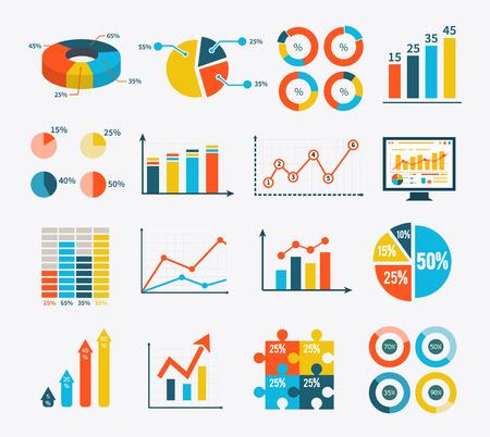 Gran conjunto infografía de gráficos, tablas y diagramas. Esquemas planos de recolección infografía en color de moda. Puede ser utilizado para la web banners, marketing y materiales promocionales, plantillas de presentación