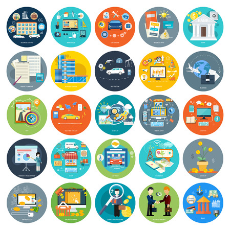 Set of icons of earnings, accounts, transport and market analysis, online business, documents, e-mail, idea, start up, delivery of goods, analysis, meeting, performance, investment, marketing in flat Ilustração