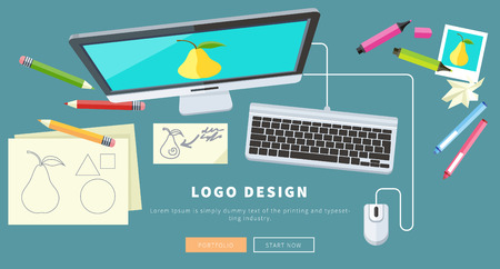 Designer office workspace with tools and devices in modern flat style. Creative process, logo and graphic design, design agency. Top view banner Illustration