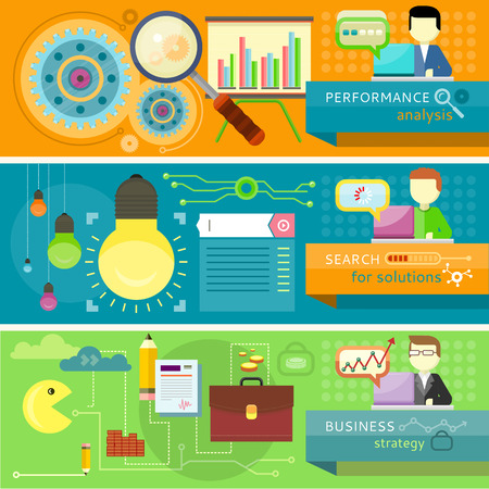 generating: Performance analysis and businessman presenting development and financial planning. Creating business strategy plan, generating report. Man work with laptop. Search for solutions infographics Illustration
