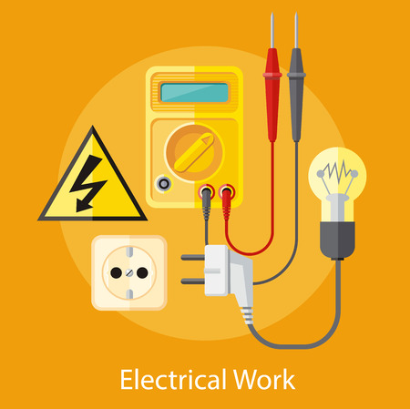 electrical equipment: Electrical work. Socket with devices for the analysis of electrical network. Device for test. Flat icon modern design style concept