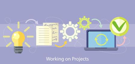 Werken aan projectconcept. Businessplan concept pictogrammen in vlakke stijl. Productidee. Projectbeheer en strategie.