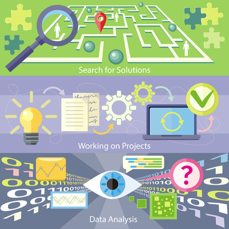 investment analysis: Data analysis concept. Scan virus in data. Working on project concept. Business plan concept icons in flat style. Search for solution labyrinth, maze, puzzle concept with business people