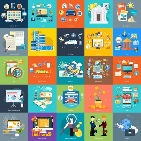 Set van business concepten productpresentatie, zoeken investeerders, idee en andere in platte ontwerp op banners. Kan gebruikt worden voor web-banners, marketing- en promotiemateriaal, presentatiesjablonen