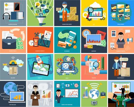 Conjunto de conceptos de negocio presentación de los productos, los inversores de búsqueda, idea y otra en diseño plano en las pancartas. Puede ser utilizado para la web banners, marketing y materiales de promoción, plantillas de presentación