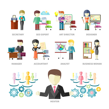 Set of peoples professions isolated on with background. Mentor with secretary, seo expert, art director, designer, manager, accountant, analyst and business woman. Concept in flat design style