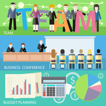 investors: Man presenting development and financial planning on meeting conference. Product presentation. Search for investors concept. Business plan concept icons in flat style. Budget planning concept. Team work
