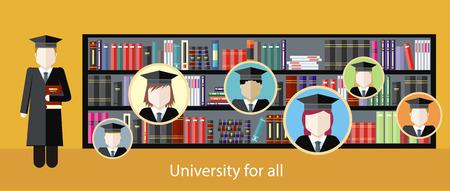 Afbeelding van studie aan de universiteit, het leren van de theorie. Onderwijs met de leraar voor iedereen.