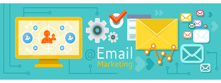 email marketing: The design concept of email marketing and sales. Concept in flat design style. Can be used for web banners, marketing and promotional materials, presentation templates