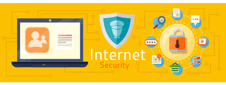 Illustration of computer internet security. Web images antivirus. Concept in flat design style. Can be used for web banners, marketing and promotional materials, presentation templates Illustration