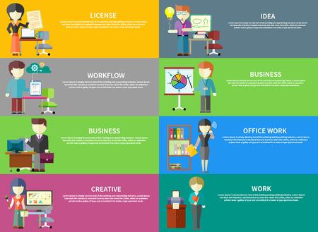Set di professioni ufficio popoli sulle bandiere. Concetti di licenza, l'idea, il flusso di lavoro, le imprese, il lavoro d'ufficio, creativo, il lavoro. Concetto in stile design piatto