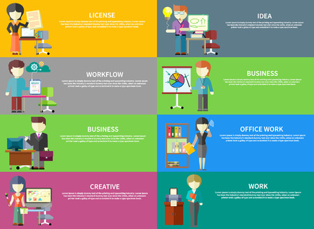 Set of peoples office professions on banners. Concepts of license, idea, workflow, business, office work, creative, work. Concept in flat design style Illustration