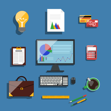 financier: Concept in flat design for workplace organization of financier and manager with desktop pc, briefcase, stationery, and idea bulb on blue background