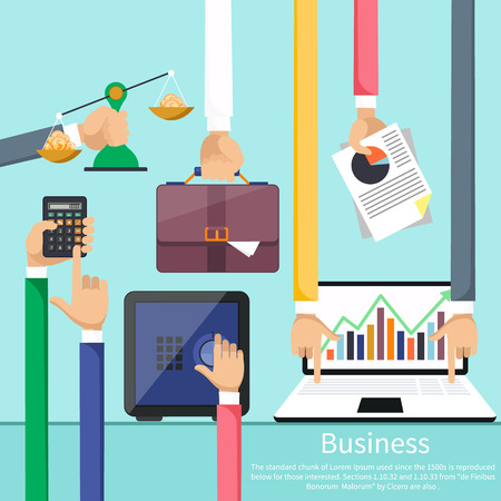 stock graph: Hands with various business elements such as safe, scales with coins, briefcase, calculator and laptop with stock graph. Flat icon modern design style concept Illustration