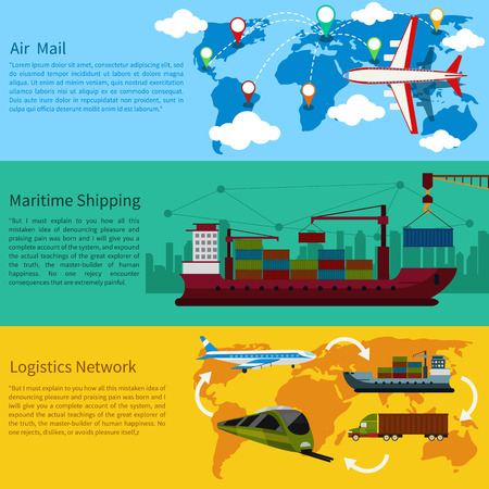 air port: Air mail, delivery of the ship, maritime shipping and logistics network flat design concepts on banners. Shipping, delivery car, ship, plane transport on a background map of the world