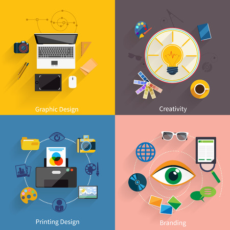 printing icon: Concept icon set in flat design for creative idea, printing process, graphic design and branding on multicolor banners
