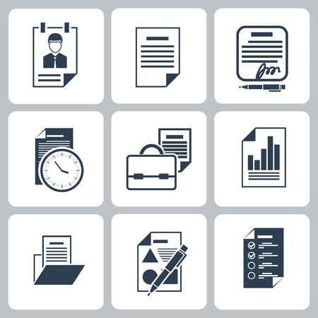 business supplies: Business icons set briefcase, clock, notebooks and some office and business supplies in black color isolated on white background