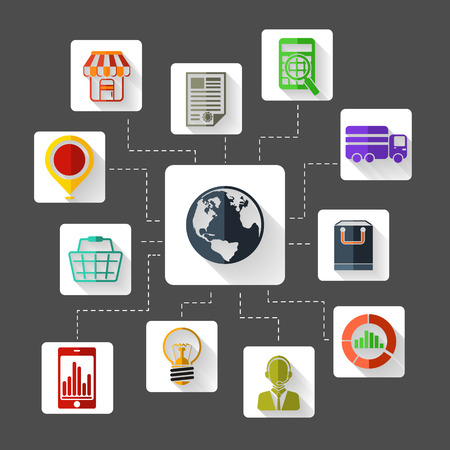 e commerce: Set of 12 square flat design icons for marketing planning , analysis, e commerce, delivery, online shopping and customer support on grey background Illustration