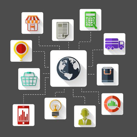 e commerce: Set van 12 vierkante platte design iconen voor marketing planning, analyse, e-commerce, levering, online winkelen en klantenondersteuning op grijze achtergrond