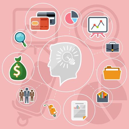 shining light: Set of flat design icons with shining light bulb inside head of businessman surrounded business pictograms