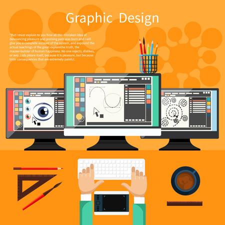 Concept voor grafisch ontwerp, ontwerper gereedschappen en software in platte ontwerp met computer omringd designer apparatuur en instrumenten. Bovenaanzicht van ontwerper trekt op tablet bij bureau