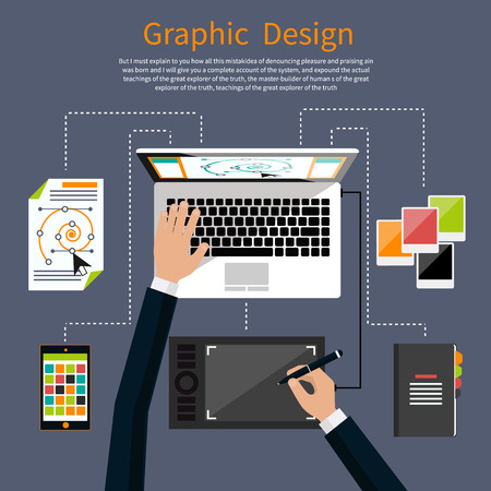 designers: Concept for graphic design, designer tools and software in flat design with computer surrounded designer equipment and instruments. Top view of designer draws on tablet at desk Illustration