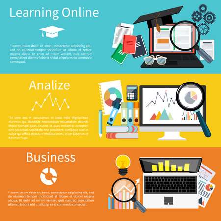 Flat design concept of learning online, analize and business modern icons set on four multicolor banners