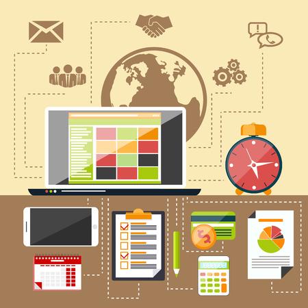 articulos de oficina: Objetos de gestión de los iconos planos modernos, artículos de oficina y negocios en la mesa con el fondo elegante Vectores