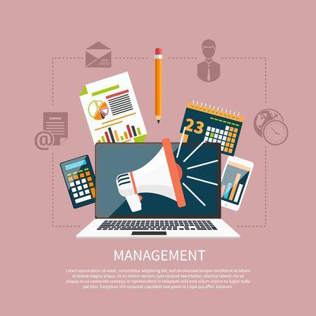 articulos de oficina: Iconos planos objetos de gesti�n modernos, art�culos de oficina y negocios en fondo con estilo. Ordenador port�til con el meg�fono en la pantalla Vectores