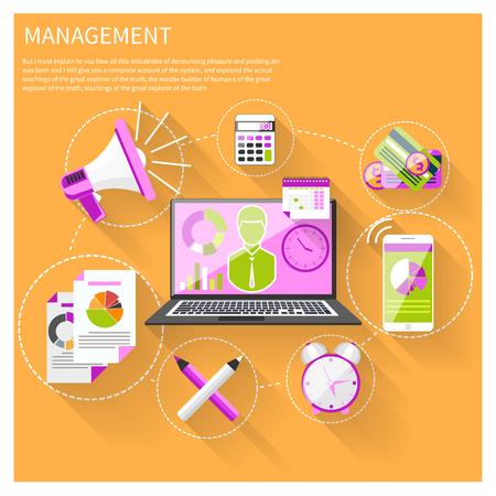 articulos de oficina: Iconos planos objetos de gestión modernos, artículos de oficina y negocios en fondo con estilo. Portátil con el gráfico gráfico y basinessman en pantalla