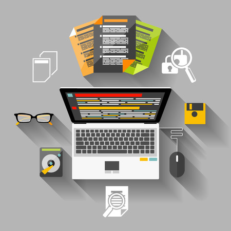 Concept in flat design for workplace organization of financier and manager with laptop, browser, graph, and glasses on gray background