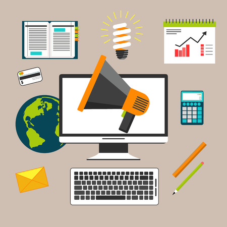 Business concept for marketing work tools with computer, megaphone and various of business and office icons
