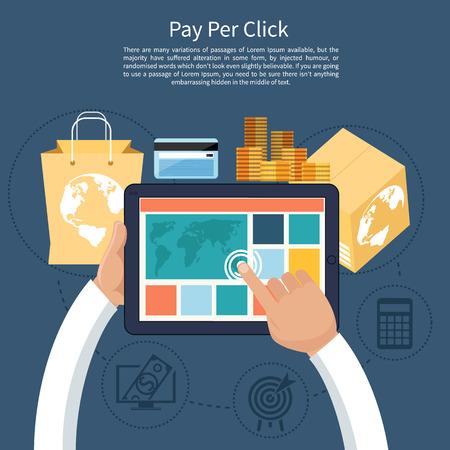 クリック単価広告がクリックされたときのインターネット広告のモデル。ボタンでモニターを購入する漫画のスタイルのモダンなフラット デザイン  イラスト・ベクター素材
