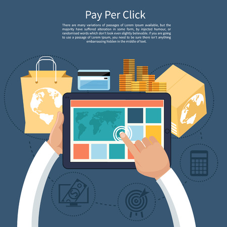 clicked: Pay per click internet advertising model when the ad is clicked. Monitor with button buy modern flat design cartoon style Illustration