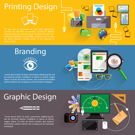 printing business: Concept icon set in flat design for creative idea, printing process, graphic design and branding on multicolor banners