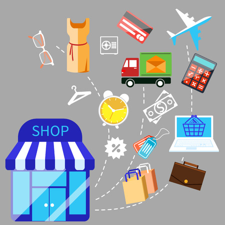 colourfull: Flat colourfull illustration of shopping and goods on grey background. Building store with merchandise flies out the door