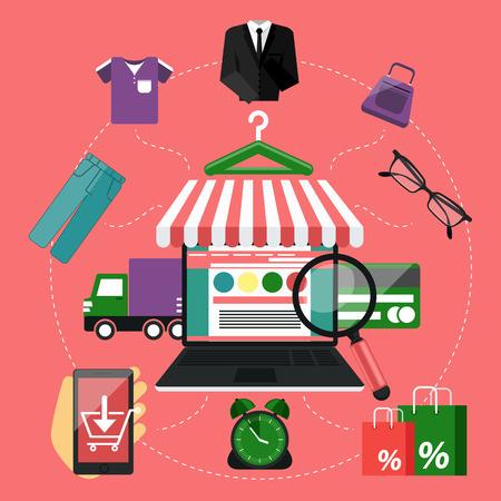 Concepto portátil compras por Internet con toldo de la compra de productos a través de la tienda en línea de ideas tienda de comercio electrónico símbolos de comercio electrónico elementos de la venta en el fondo con estilo
