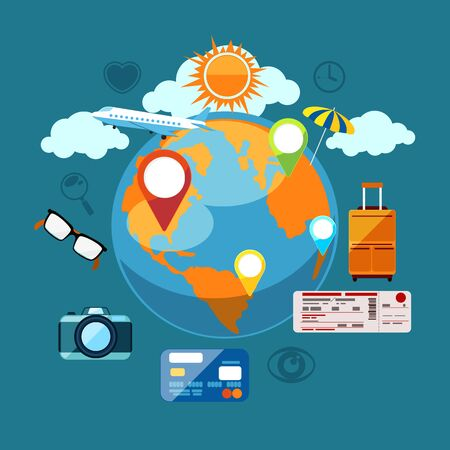 business travel: Round flat konzeptionelle Darstellung der internationalen Gesch�ftsreisen mit dem Flugzeug. Tourist Icons rund um den Planeten
