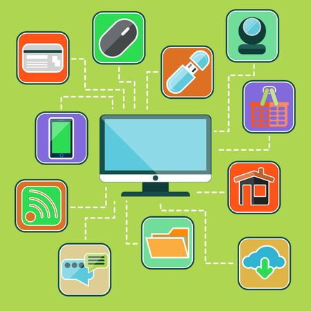 data transmission: Flat design icon set with computer monitor surrounded icons of usb devices, web services, data transmission, mobile gadgets on green background Illustration