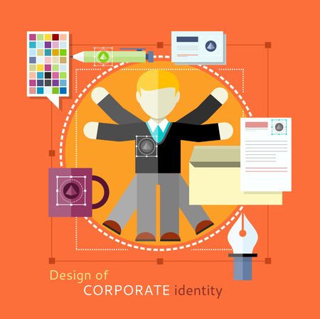 be the identity: Corporate identity concept. Design of human resources. Man with lots of hands. Concept in flat design style. Can be used for web banners, marketing and promotional materials, presentation templates Illustration