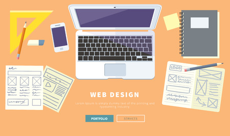 web screen: Designer office workspace with tools and devices in modern flat style. Creative process, logo, web and graphic design, design agency. Top view banner Illustration