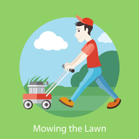 lawn mower: Man moves with lawnmower, mows green grass near house. Man in a red cap and T-shirt cutting grass in his garden yard with lawn mower in flat design Illustration