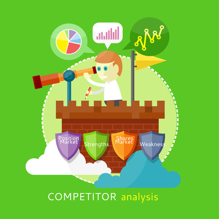 Competitor analysis concept of position market, strengths, shares market, wekness. Man is standing on the tower and looking through a telescope  and writes the results